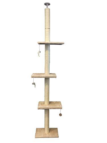 Pippa & Max Tiragraffi per Gatti al soffitto 215cm-288cm | Albero per Gatti dal Pavimento al soffitto, Giochi per Gatti, Graffiatoio Sisal, Albero Grande Gatto Che Si estende se Necessario