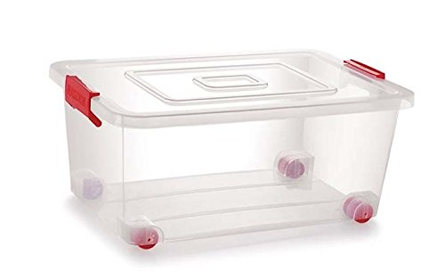 Siva Naturals Plastic container box with Lack and Wheel (Transparent, 32 L)