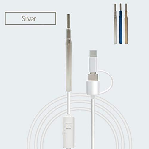 JM-D Otoscope HD Wireless Ohr Reinigung Endoskop Kamera WiFi mit,6 Stufenlos Einstellbare LED-Leuchten und 1.5 Meter Kabel Beobachten und zu Schützen Eardrum Mundgesundheit,Silver