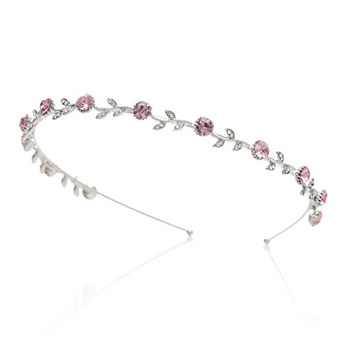 SWEETV Sparkling Crystal Headband Tiara Rhinestone Leaf Hair Band Women Hair Jewelry, Single Band Pink