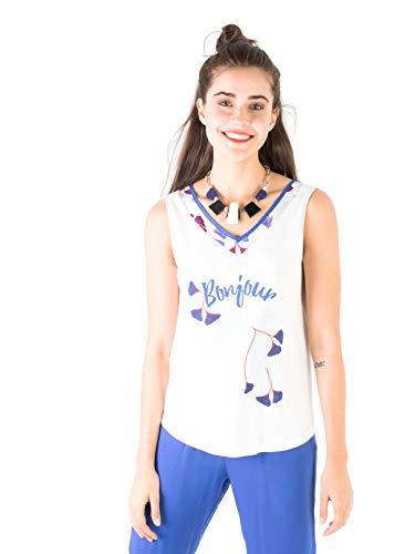 Smash! Tank Top Harmoni, Ärmelloses T-Shirt in Weiẞ mit Blumenmotiven und dem Text Bonjour, Größe XXL - Weißer Text Ärmelloses T-shirt