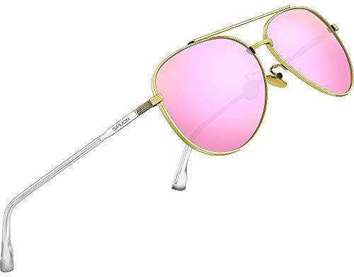 SIPLION Unisex Polarisiert Sonnenbrille Herren Damen Pilotenbrille Fahrerbrille Verspiegelt UV400 7077 Pink