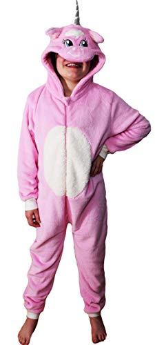 en Strampelanzug Schlafoveralls Tier Overall flauschig Fleece Jumpsuits Mops Teddybär Affe Dalmatiner Schaf Gorilla - Alter 2-13 Jahre, 6-7 Rosa Einhorn ()
