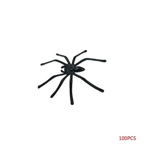 Fliyeong 100 STÜCKE Kunststoff Gefälschte Spinne Praktische Witze Requisiten Realistische Spinne Streich Halloween Party Dekoration Langlebig und Nützlich