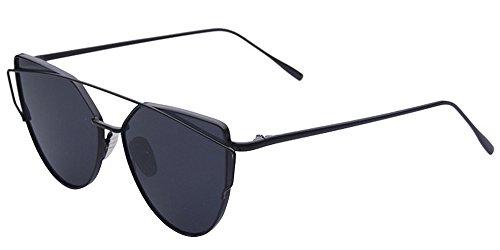BOZEVON Damen-Sonnenbrille kühle Art- und Weiseklassische Luxuxmetallrahmen-Katzenaugen-Spiegel-Gläser Schwarz-Grau