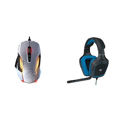 Roccat Kone AIMO Gaming Maus (hohe Präzision, optischer Owl-Eye Sensor (100 bis 12.000 DPI), 23 programmierbare Tasten) weiß & Logitech G430 Gaming Kopfhörer (Dolby 7.1 Surround Sound für PC ) blau