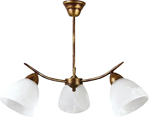 Leuchtstarke Deckenleuchte (B55cm, rustikal, Jugendstil, Weiß, weite Schirmform, 3-flammig)...