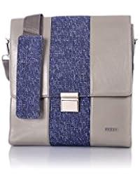 Veuza Milan Premium Jacquard And Faux Leather Navy Blue Messenger Bag