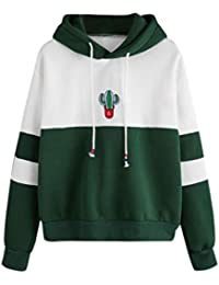 Walaka Sweatshirt Femme Chic Long Sleeve Cactus Print Sweat-Shirt Hooded  Pullover Tops Chemisier 331d5733208