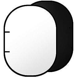 Neewer Toile de Fond Pratique en Mousseline à Double Face Noire/Blanche - 200 x 150 cm Fond Rond Pliable pour Photographie avec Etui de Transport
