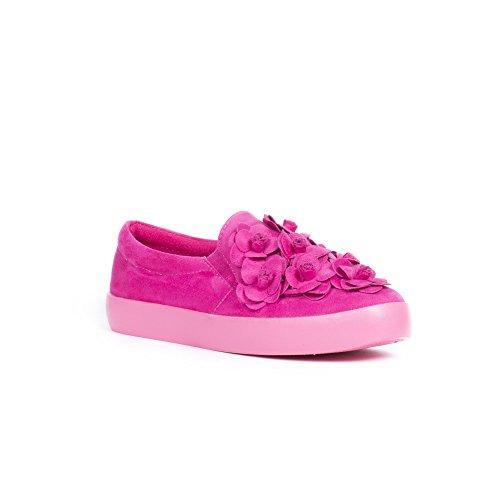 Ideal Shoes Slip-On à Plateforme Effet Daim Telia Fuchsia