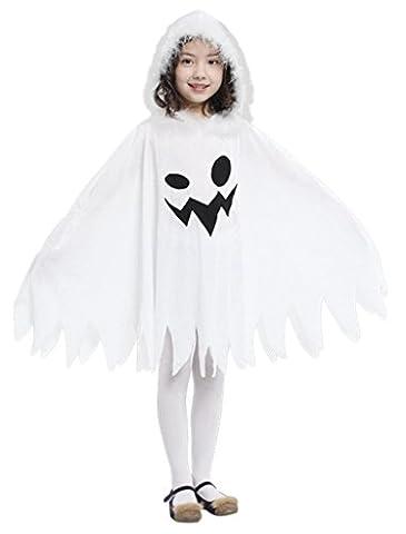 Y-BOA Déguisement Fantôme Blanc Cape à capuche Enfant Fille/Garçon Halloween Costume Cosplay Carnaval