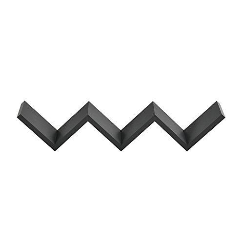 [en.casa] Estantería de pared zig-zag gris oscuro mate diseño retro