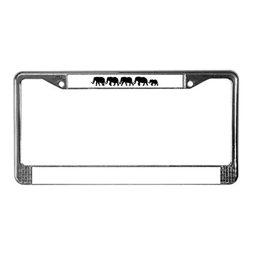 CafePress–elefante línea–Placa de Licencia de cromo, 2licencia Tag Holder