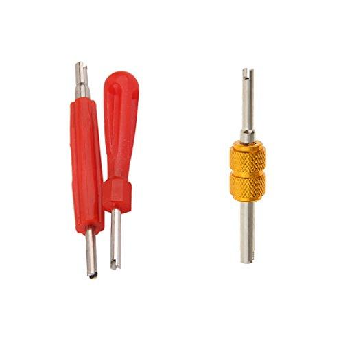 Gazechimp 3 x Ventileinsatz Entferner Reparatur Tools Kit Doppelkopf, 2 Größen mit Griff