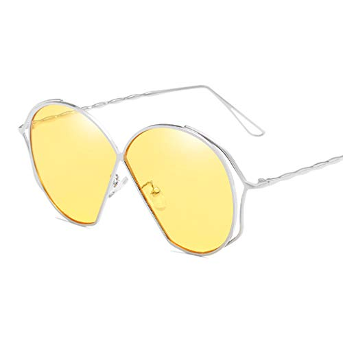 JunbosiOcean Piece Sonnenbrillen Wave Spiegel Leg Twist Sonnenbrillen Farbverlauf Transparent Unregelmäßig Große Sonnenbrillen Sonnenbrille,A,OneSize