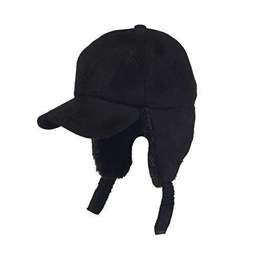 LIXUE Chapeau Chaud Noir Femme Automne Et Hiver Chaud en Peluche Ski Chapeau Volant Protection Oreille Casquette De Baseball
