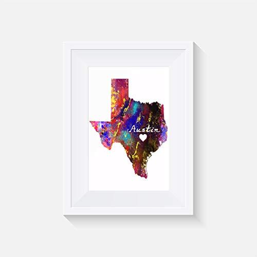Texas Austin Inspiriert - Drucken - Poster - Aquarell - Wandkunst- verschiedene Größen(Rahmen Nicht Inbegriffen)