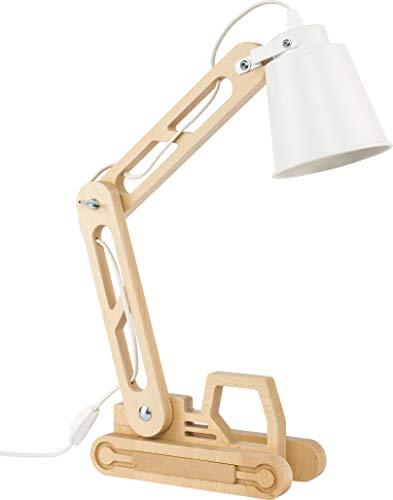 Schreibtischlampe Holz Kinderlampe Leselampe E27 Retro Design für Schreibtisch und Nachttisch regulierbar LED-Leuchtmittel, Weiß Kinder Jungen Mädchen 6W Tischlampe verstellbar (Lift 2993)
