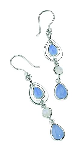 Elements Sterling Silver Ladies E2648 Blue Chalcedony and Moonstone Teardrop Earrings