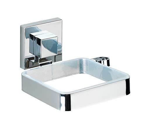 Wenko Vacuum-Loc Haartrocknerhalter Quadro - Fönhalter, Edelstahl rostfrei, 14 x 7,5 x 13,5 cm, glänzend