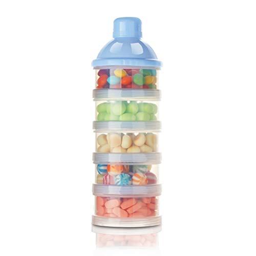 Anewu Dispensador de Leche en Polvo, fórmula de dispensador de Leche en Polvo para bebés, porción de Leche en Polvo, contenedor de Alimentos, Caja de alimentación de Almacenamiento, 5 Capas