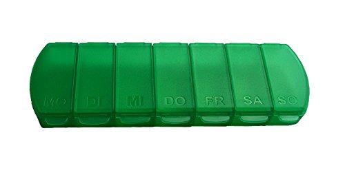Pille Medikament Box (Pillendose für 7 Tage, Tablettendose von MaxBox, Pillenbox mit getrennten Fächern, handliche Medikamentenbox (grün))