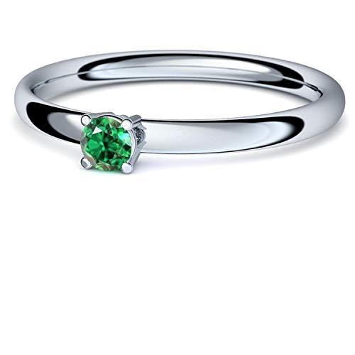 Smaragd Ring Silber 925 (***sehr hochwertiger Smaragd 3 mm***) + GRATIS Luxusetui Silberring grüner Stein Silberring Smaragd Smaragdringe Ringe Damen Schmuck AM161 SS925SMFA54