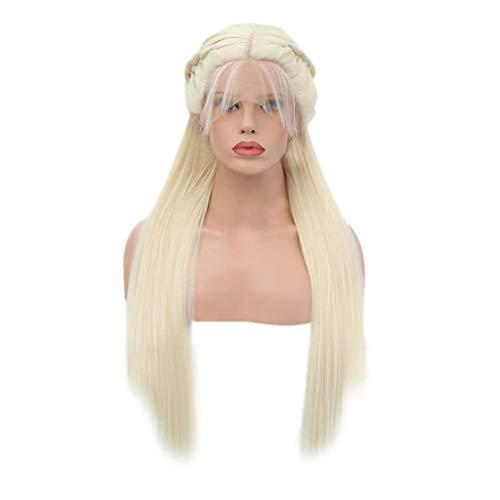 Berrose Synthetische geflochtene doppelte Lace Front Perücke lange bunte Perücken Das neue Frau Mode Mittelpunkt Langes, glattes Haar Vordere Spitze Geflochtenes Geflecht Perückenabdeckung