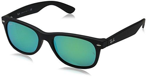 Ray-Ban Unisex Sonnenbrille New Wayfarer Gestell: Schwarz, Gläser: Grün Flash 622/19), Large (Herstellergröße: 55)