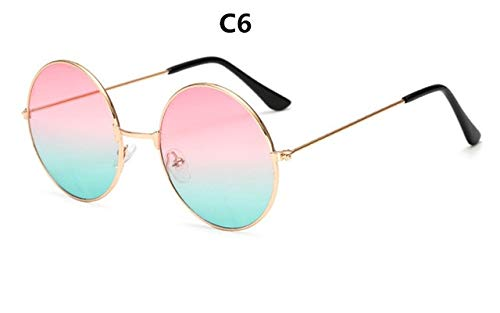 YUHANGH Metallrunde Mode Sonnenbrillen Frauen Retro Marine Linsen Rote Persönlichkeit Prince Mirror Uv400 Oculos