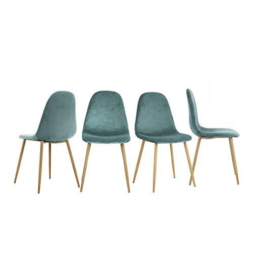 Yata Home - Juego de 4 sillas de 44 x 44 x 87 cm, Color Antracita, Estilo escandinavo, Terciopelo, Patas...