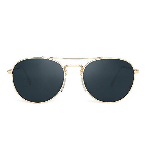 JIM HALO Klassisch Runden Flieger Sonnenbrille Premium Glas Linse Flach Metall Gläser Damen Herren(Gold/Grau)