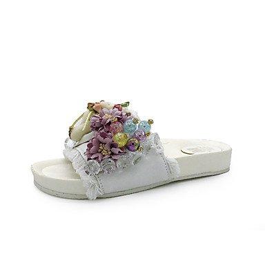 zhENfu donna pantofole & amp; flip-flops sandali Comfort PU Estate outdoor Abbigliamento sportivo a piedi perla Strass fiore HeelWhite piatto nero White