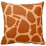 Double Khaki Giraffe Animal Print Decorative Pillow Cushion Case Covers 18X18 Inches Two Sides