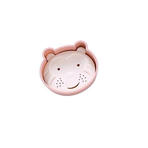 Bar Soap Tray Form (DDOQ Beste Cartoon Bär Form Doppelschicht Abfluss Soap Box Seifenschale Seifenhalter Container Soap Tray-Pink)