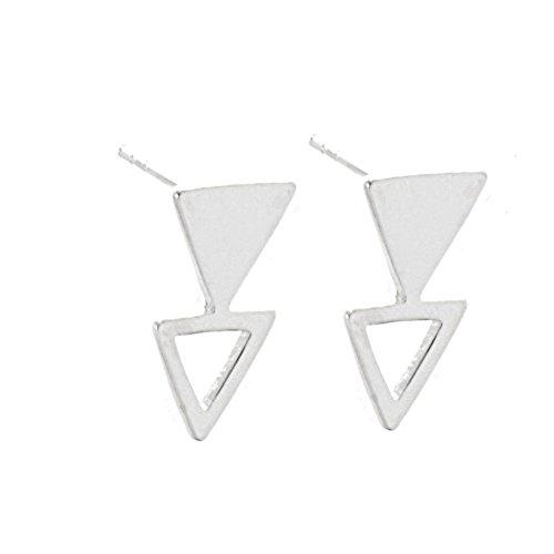 Modernes Sterling Silber Schmuck: Double Triangle Ohrstecker (E353Modem (freigeschaltet;)