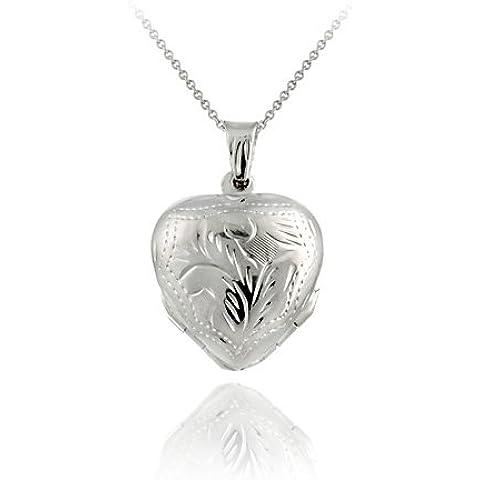 A forma di fiore, in argento Sterling, con incisione, a forma di cuore, 4 pannelli, motivo: medaglione
