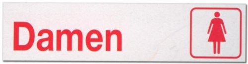 Hinweisschild - Büroschild ohne roten Rand - Damen - Dame Frau Frauen Frauentoilette Toilette Toiletten Herrentoilette Klo Schild Warnschild Warnzeichen Arbeitssicherheit Türschild Tür Kunststoff Kunststoffschild Geschenk Geburtstag T-Shirt