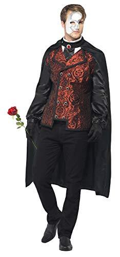 Smiffys, Herren Dark Opera Kostüm, Umhang, Mock Hemd, Maske, Handschuhe und Kunstrose, Größe: L, - Herren Dark Angel Kostüm