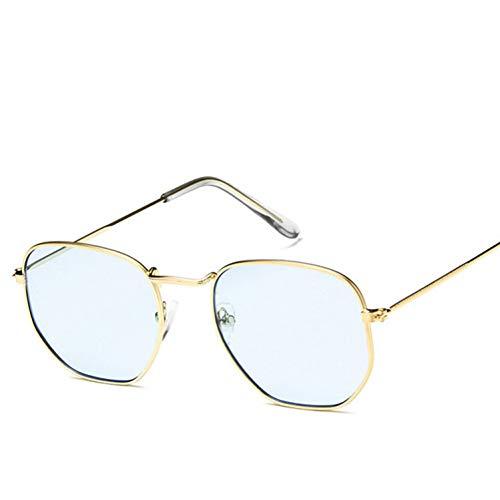 Liuao Sonnenbrillen Damen Markendesigner Small Polygon Clear Lens Sunglasses Men,Blue