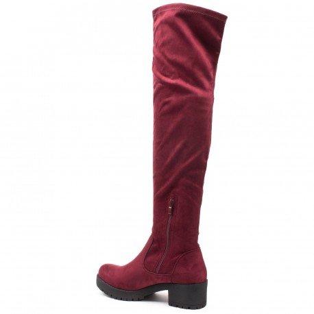 Ideal Shoes - Cuissardes effet daim avec semelle crantrée Zaina Rouge