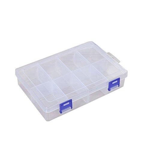 VORCOOL Aufbewahrungsbox Kunststoff Transparent Tragbar Transparent Porte-organisateur der Medizin mit der Steckleisten Verstellbare für Schmuck Perlen Schnalle (8Gitternetz-Türen) -