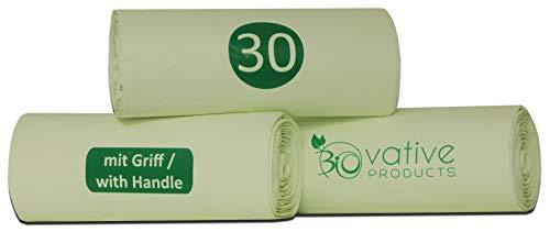 Sacchi per la spazzatura compostabile 30 litri con maniglia - 39 sacchetti organici antistrappo e tenuta - 100% compostabili e biodegradabili - sacchetti per rifiuti organici da 30l