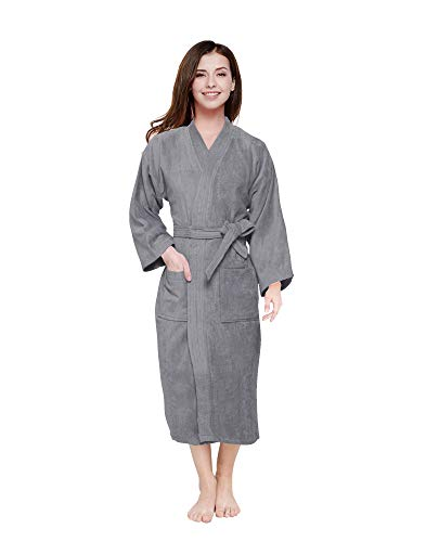 Cloth Fusion Men's and Women's Terry Bathrobe (Wild Dove, Large)