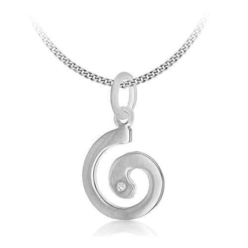 Tuscany Silver Rolokette Mit Anhänger Rhodiniert Sterling Silber Swirl 0.18ct Diamant 46cm/18' International Silver Swirl