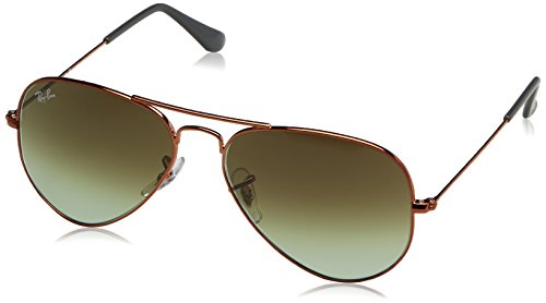 Ray-Ban Unisex-Erwachsene Sonnenbrille Rb 3025 Shiny Medium Bronze/Green Gradient Brown 55