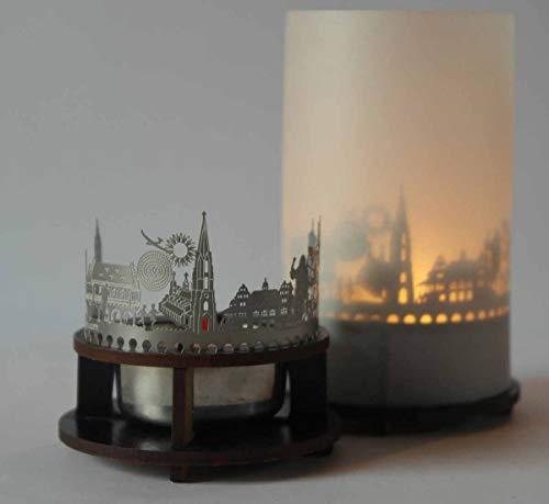13gramm Freiburg-Skyline Windlicht Schattenspiel Premium Geschenk-Box Souvenir, inkl. Kerzenhalter, Kerze, Projektionsschirm und Teelicht