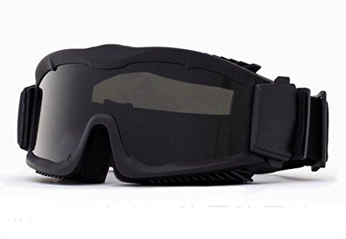 Interchangeable multi lentilles Kit Airflow tactiques Ventilé sécurité Lunettes Airsoft avec 3 lentilles (Noir)