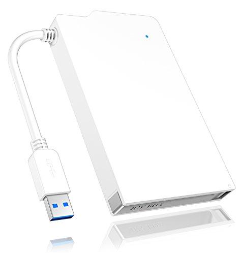 Icy Box IB-AC606-U3 Externes Gehäuse für 2,5 Zoll HDD & SSD, USB 3.0 Anschluss (UASP), werkzeuglos & integriertes USB-Kabel, weiß